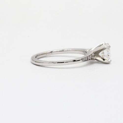 1.05 Cts VS2 F Graduated Milgrain Round Diamond Engagement Ring 18K White Gold