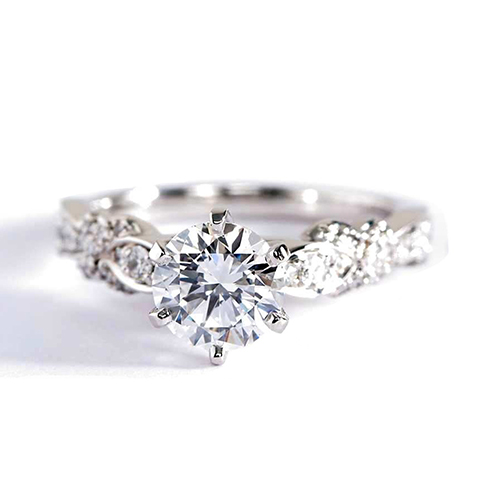 1.1 Carats VS2 D Art Deco Round Brilliant Diamond Engagement Ring Platinum