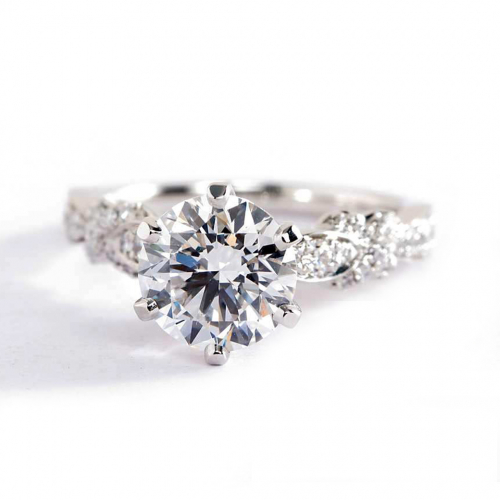 1.9 Carats SI2 H Art Deco Round Brilliant Diamond Engagement Ring Platinum