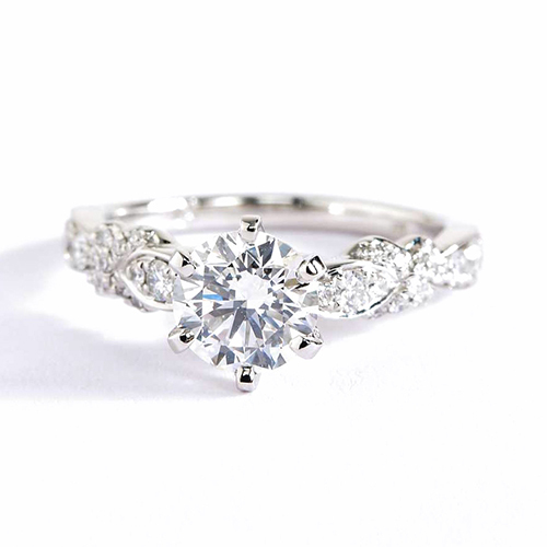 1.3 Cts SI2 F Art Deco Round Brilliant Diamond Engagement Ring 18K White Gold