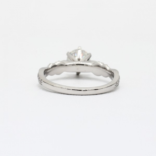 1.3 Cts SI2 F Art Deco Round Brilliant Diamond Engagement Ring 18K White Gold