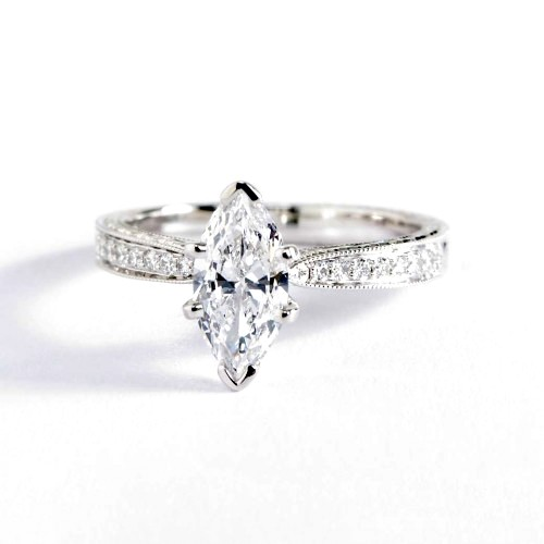 0.9 Ct SI2 F Hand Engraved Pave Marquise Diamond Engagement Ring 18K White Gold