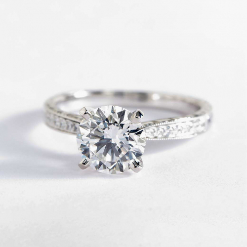 1.2 Cts VS2 F Hand Engraved Micropave Round Diamond Engagement Ring Platinum