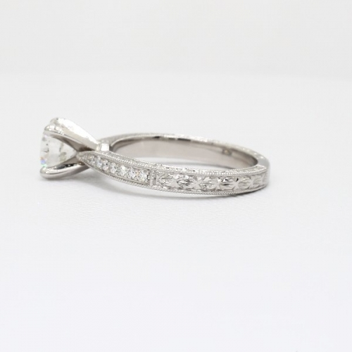 GIA1.1 Cts SI2 F Hand Engraved Micropave Round Diamond Engagement Ring Platinum
