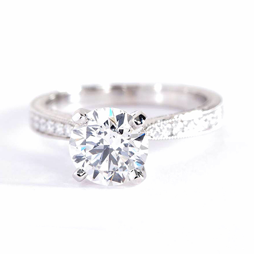 1.2 Cts SI2 F Hand Engraved Pave Round Diamond Engagement Ring 18K White Gold