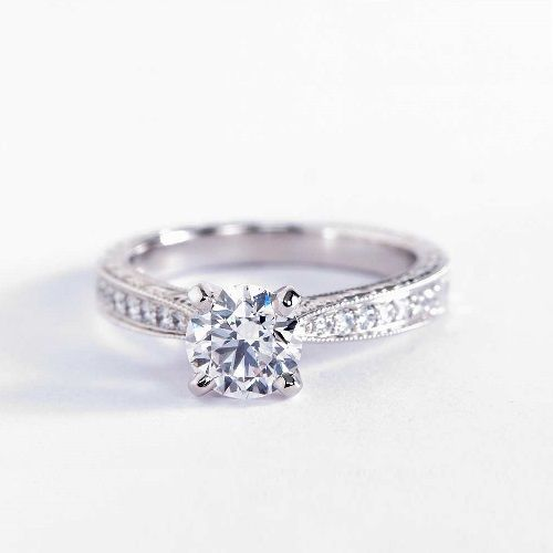 0.5 Ct VS2 D Hand Engraved Pave Round Diamond Engagement Ring 18K White Gold