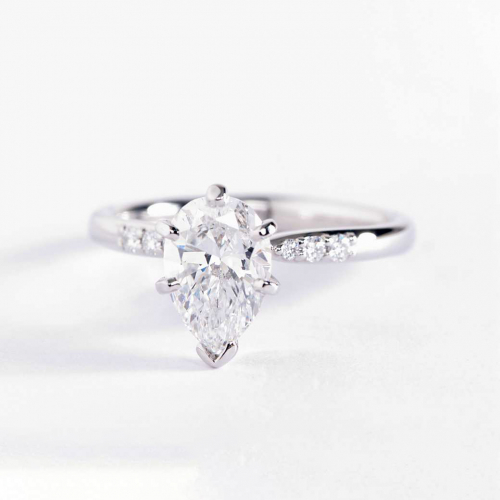 0.8 Carat SI2 F Petite Pear Cut Diamond Engagement Ring 18K White Gold