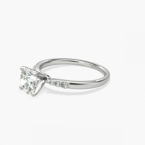 GIA Certified 0.6 Ct VS2 F Petite Round Diamond Engagement Ring 18K White Gold