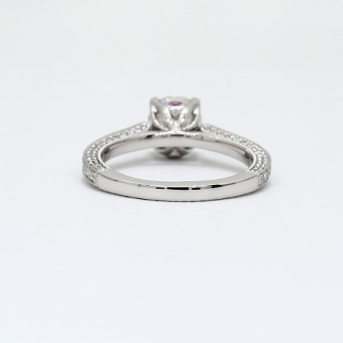 1.65 Cts VS2 F Vintage Style Round Cut Diamond Engagement Ring 18K White Gold