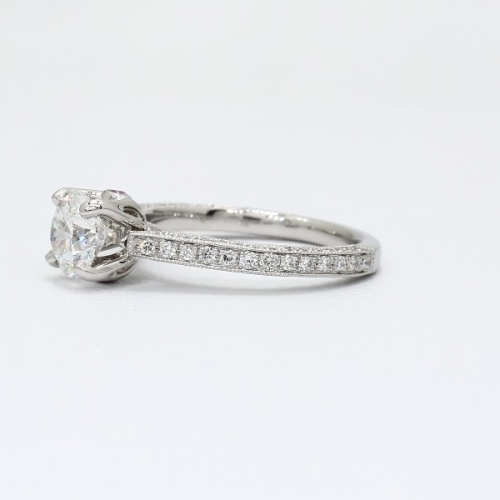 GIA 1.15 Cts SI2 F Vintage Style Round Diamond Engagement Ring 18K White Gold