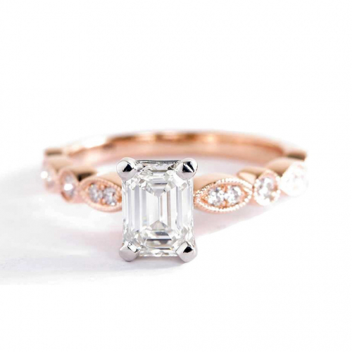 1.1 Cts VS2 F Vintage Milgrain Emerald Cut Diamond Engagement Ring 18K Rose Gold