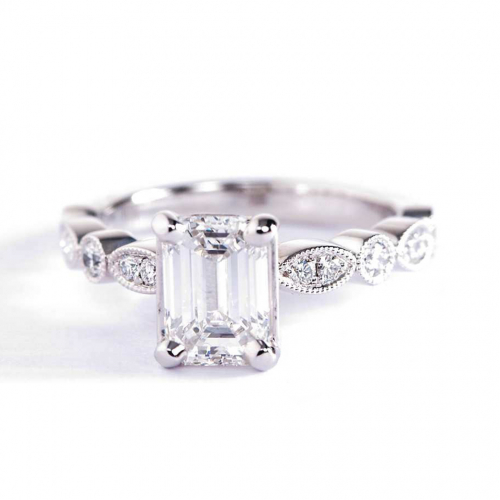 1.1 Ct VS2 F Vintage Milgrain Emerald Cut Diamond Engagement Ring 18K White Gold