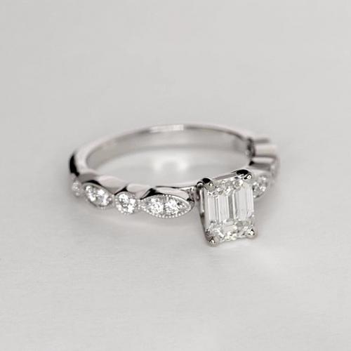 1.1 Ct VS2 F Vintage Milgrain Emerald Cut Diamond Engagement Ring 18K White Gold