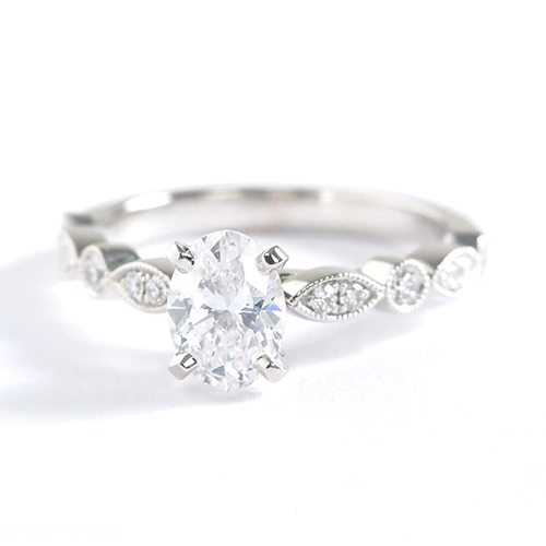 1 Carat SI2 H Vintage Milgrain Oval Cut Diamond Engagement Ring 18K White Gold