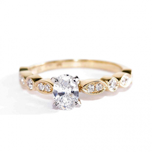 0.6 Ct SI2 D Vintage Milgrain Oval Cut Diamond Engagement Ring 18K Yellow Gold