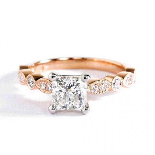 1 Ct SI2 D Vintage Milgrain Princess Cut Diamond Engagement Ring 18K Rose Gold