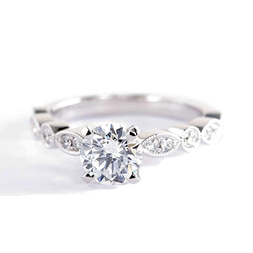 0.8 Carat SI2 F Vintage Milgrain Round Cut Diamond Engagement Ring Platinum