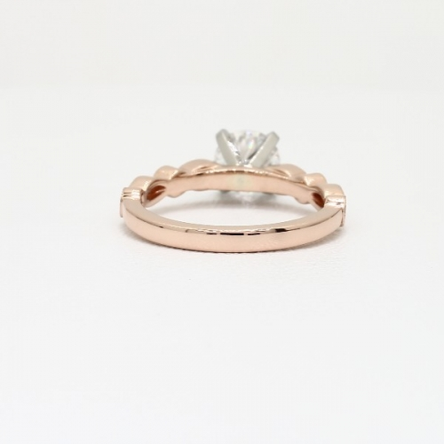0.4 Carat VS2 F Vintage Milgrain Round Cut Diamond Engagement Ring 18K Rose Gold