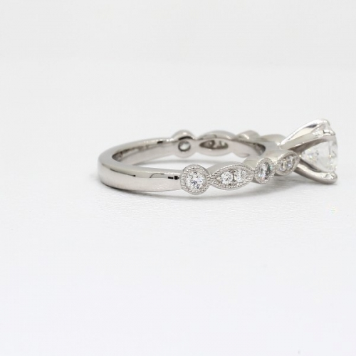 1 Carats SI2 D Vintage Milgrain Round Cut Diamond Engagement Ring 18K White Gold