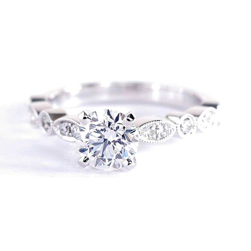 GIA 1 Cts VS2 D Vintage Milgrain Round Diamond Engagement Ring 18K White Gold