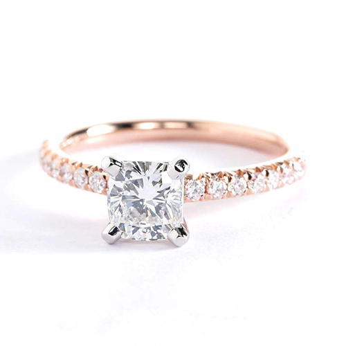 0.95 Carat SI2 F French Pave Cushion Cut Diamond Engagement Ring 18K Rose Gold
