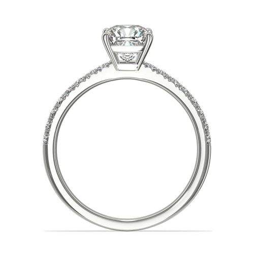 1.05 Carats VS2 F French Pave Cushion Cut Diamond Engagement Ring 18K White Gold