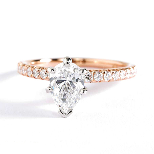 0.95 Carat SI2 D French Pave Pear Cut Diamond Engagement Ring 18K Rose Gold