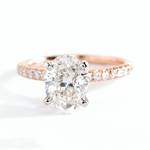 1.75 Carats SI2 H French Pave Oval Cut Diamond Engagement Ring 18K Rose Gold