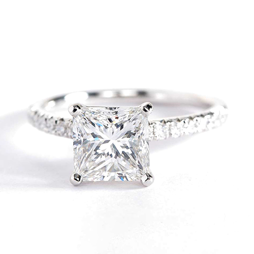 1.65 Cts VS2 F French Pave Princess Cut Diamond Engagement Ring 18K White Gold