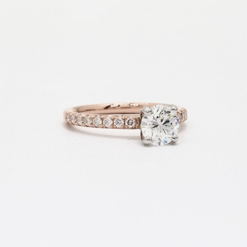 GIA Cert 0.95 Ct VS2 F French Pave Round Diamond Engagement Ring 18K Rose Gold