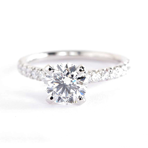 GIA 1.15 Cts SI2 F French Pave Round Diamond Engagement Ring 18K White Gold