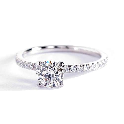 0.62 Carat SI2 H Micro Pave Round Cut Diamond Engagement Ring 18K White Gold