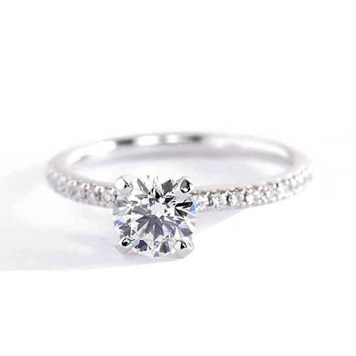 0.82 Carat SI2 F Micro Pave Round Cut Diamond Engagement Ring 18K White Gold