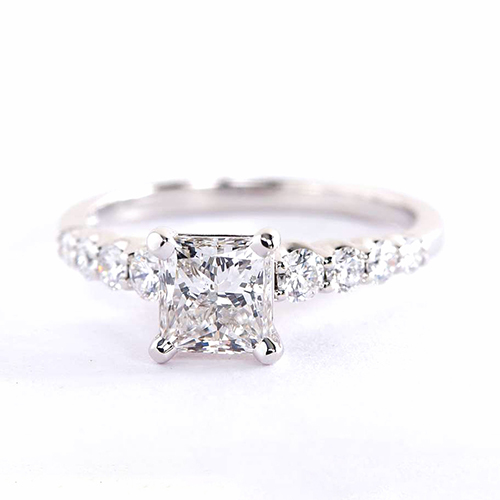 1.50 Carats VS2 H Graduated Princess Cut Diamond Engagement Ring 18K White Gold