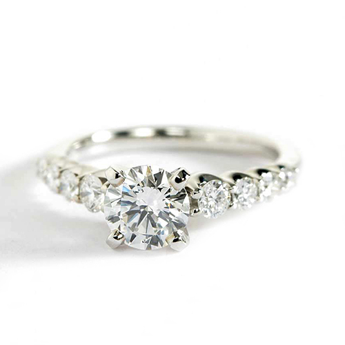 1.30 Carats VS2 H Graduated Round Cut Diamond Engagement Ring 18K White Gold