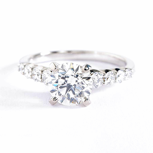 GIA Cert 1.70 Cts SI2 F Graduated Round Diamond Engagement Ring 18K White Gold