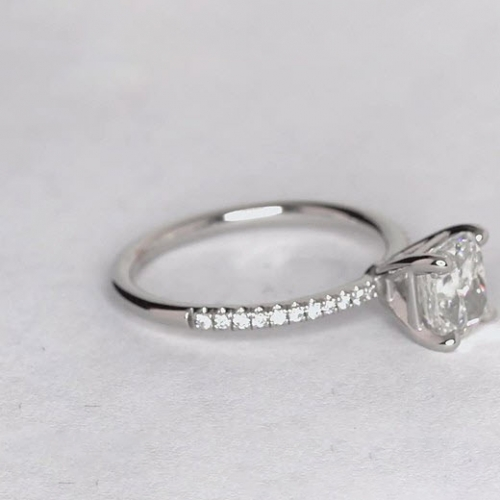 1.15 Carats SI2 F French Cushion Cut Diamond Engagement Ring Platinum