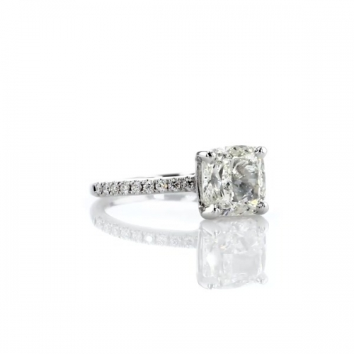 1.75 Carats SI2 H French Cushion Cut Diamond Engagement Ring 18K White Gold