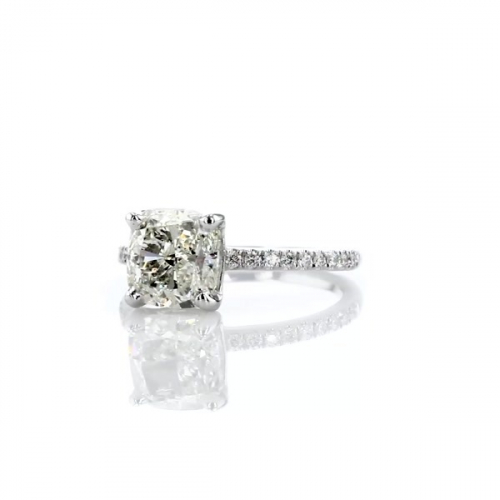 1.25 Carats SI2 F French Cushion Cut Diamond Engagement Ring 18K White Gold