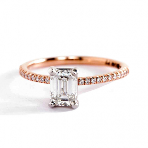 0.75 Carat VS2 H French Emerald Cut Diamond Engagement Ring 18K Rose Gold