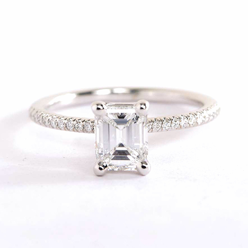 0.75 Carat SI1 F French Emerald Cut Diamond Engagement Ring 18K White Gold