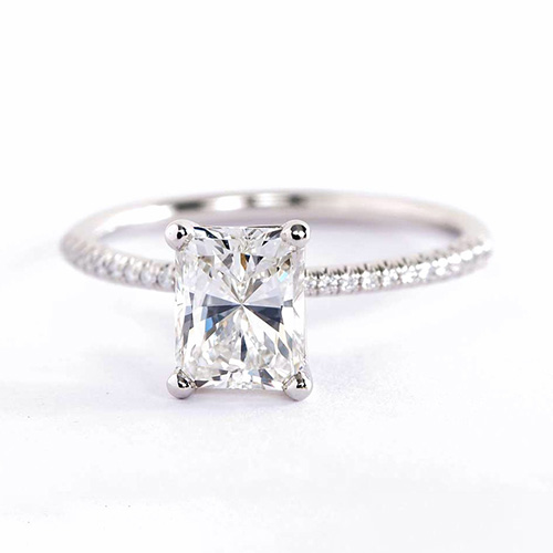 1.25 Carats VS2 F French Radiant Cut Diamond Engagement Ring 18K White Gold