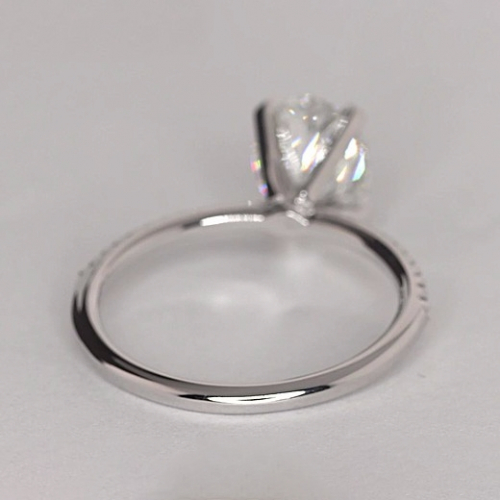 1.75 Carats SI2 F French Oval Cut Diamond Engagement Ring 18K White Gold