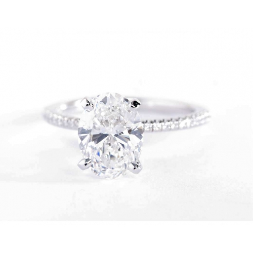 1.75 Carats VS2 F French Oval Cut Diamond Engagement Ring 18K White Gold