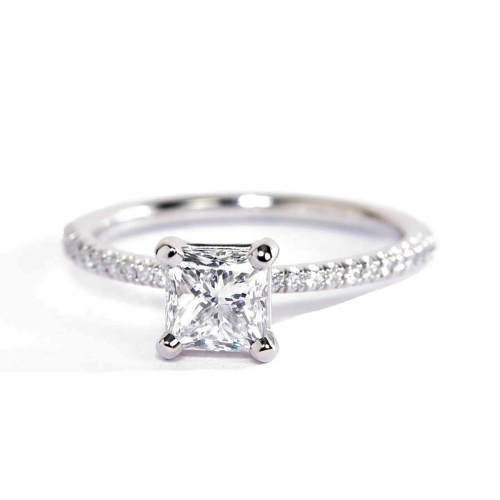 0.75 Carat VS2 F French Princess Cut Diamond Engagement Ring Platinum