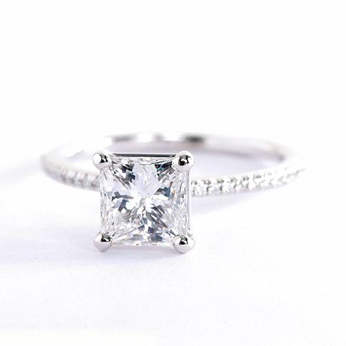 GIA Certified 1.15 Cts SI2 F French Princess Diamond Engagement Ring Platinum