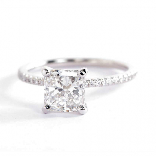 1.25 Carats SI2 H French Princess Cut Diamond Engagement Ring 18K White Gold