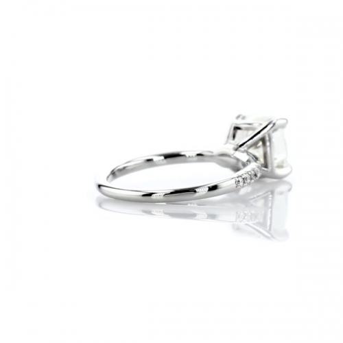 1.25 Carats SI2 H French Princess Cut Diamond Engagement Ring 18K White Gold
