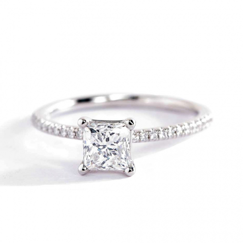 0.75 Carat VS2 H French Princess Cut Diamond Engagement Ring 18K White Gold