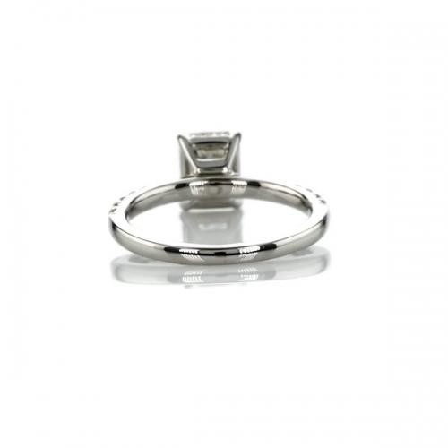 0.75 Carat VS2 H French Princess Cut Diamond Engagement Ring 18K White Gold